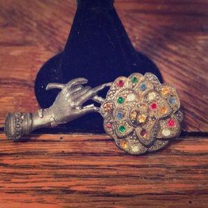 """Vintage repurposed """"hand"""" brooch"""